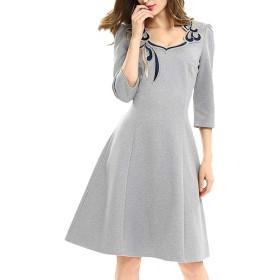 YACUN 女性のカクテルドレスの刺繍の帰省スイングドレス Gray 4XL