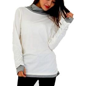 [スリーピングシープ] タートルネック 指穴 長袖 フェイクレイヤード サイド シャーリング Tシャツ カットソー M L LL 3L 4L レディース (ホワイト, 4L)