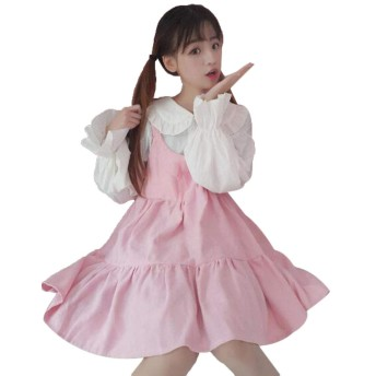 (グードコ) ワンピース レディース ドレス フレア ロリータ メイド 風 フレアスリーブ 2点セット Aライン 長袖 ふんわり 膝丈 可愛い ピンクF