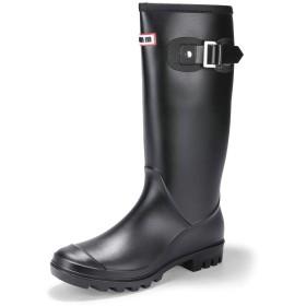 [IDIFU] レディース 歩きやすい 防水 防滑 ベルト 長靴 無地 ラウンドトウ ロング 雨 レインブーツ ブラック 25.0 cm