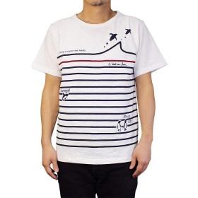 [ESPACE VERT] Tシャツ メンズ ボーダー&ペンギン (Large, オフホワイト)