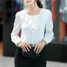 ComUnited シフォンシャツ ブラウス 長袖 大人 きれいめ シンプル オフィススタイル 2色展開 ホワイト ブラック (5XL, ホワイト)
