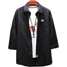 [sweet bell] シャツ メンズ 五分袖 七分袖 半袖 春 夏 無地 カジュアル カットソー トップス ブラック 黒 Lサイズ