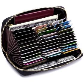 [imeetu] カードケース じゃばら L型 72枚収納 大容量 牛本革 磁気防止 スキミング防止 メンズ レディース (ピンク)