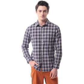 メンズ チェックシャツ(長袖)カジュアル ワイシャツ 格子 ビジネス 大きいサイズ P-13(L 12)