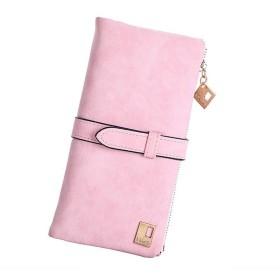 [ホマ イーショップ] 長財布 レディース PUレザー ウォレット薄型 おしゃれ レトロ調 ジップ財布 (ピンク)