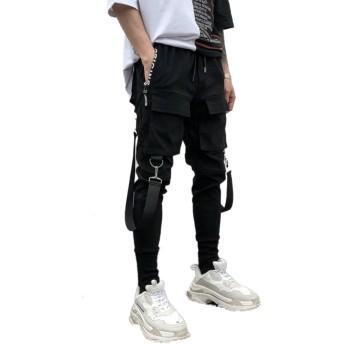 (バリオスウェイズ)VariousWays メンズファッション【ストラップテープ ロング パンツ ブラック】カジュアル パンツ ズボン メンズ V系 サロン系 (L)