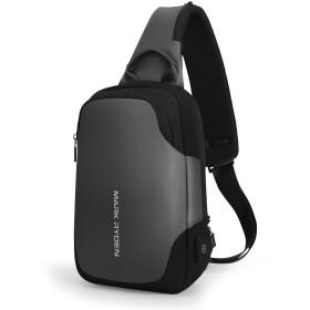 MARK RYDEN ショルダーバッグ USB充電ポート付属ボディバッグ 斜め掛けバッグ 裏ポケット付き 撥水加工 9.7インチiPad収納 軽量バッグ 左右掛け 大人気ワンショルダー
