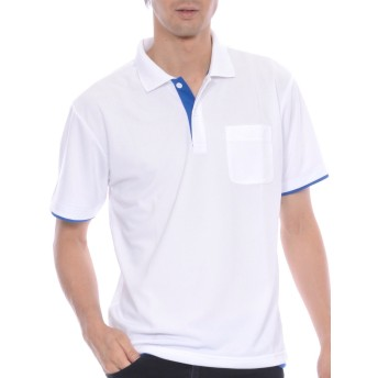 ティーシャツドットエスティー ポロシャツ ドライ 半袖 レイヤード ポケット付き UVカット 4.4oz メンズ ホワイト×ロイヤルブルー S