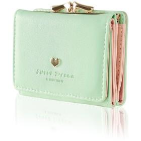 ミニ財布 レディース 人気 KQueenstar 小さい財布 がま口 カワイイ レザー コンパクト ハート ウォレット カード小銭入れ 女性用 プレゼント グリーン