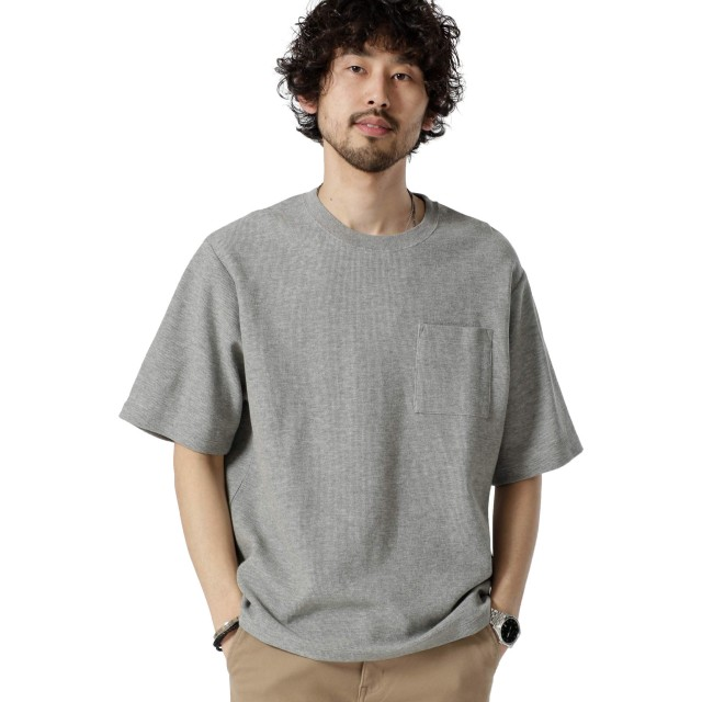 [ナノユニバース] 二重編みジャガードBIG Tシャツ メンズ グレー S