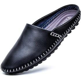 T.B フェイクレザーシューズメンズサンダル通気性スリッパ靴ブラック9805 - 特開平28.5センチメートル(45)