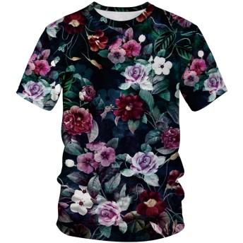 Pizoff(ピゾフ) メンズ 花柄Tシャツ 半袖 リアル 3Dプリント おしゃれ 原宿系 派手 B系 ユニセックス カットソーAM089-17-XL