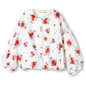 (ブランシェス) branshes ノーカラー花柄ジャケット 110cm オフホワイト