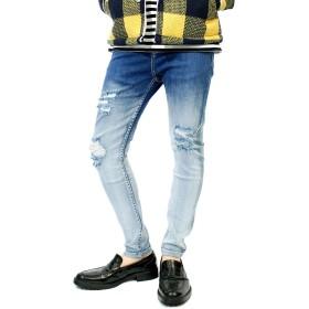 スキニーパンツ メンズ デニム ストレッチ グラデーション クラッシュ ダメージ加工 ジーンズ 9分丈 アンクルパンツ M ブルー