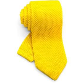 [ダブリューアンドエム] 7cm 幅 ニットタイ ニット ネクタイ 洗濯 可能 無地 ソリッド ポインテッド カナリア イエロー レモン 淡い 黄色