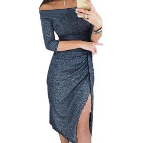 JSYJP 女性のスリットヴォーグパーティーロングスリーブクラブ着用肩ドレス Dark Grey S