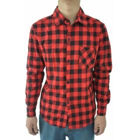 SODIAL 男性のビンテージなチェック柄の長袖シャツ スリムフィット 男性の高品質シャツ M 赤のチェック柄