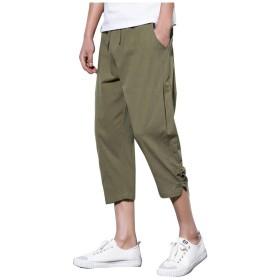 Mimoonkaka サルエルパンツ メンズ 薄手 アラジンパンツ 大きいサイズ 袴パンツ 7分丈 麻 夏 無地 調整紐 ゆったり メンズ ワイドパンツ 通気 パンツ