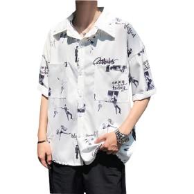 [BSCOOL]半袖 シャツ メンズ ゆったり プリント トップス 夏 ゆったり ストリート系 シャツ 韓国ファッション 夏服 通学 オシャレ(C白)