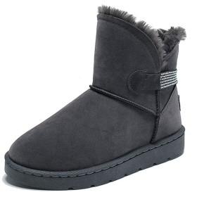 [WOOYOO] ムートンブーツ レディース ショート丈 ファー付き スノーブーツ グレー 靴 秋 冬 お洒落 やわらか あったか 保温 防寒 大きいサイズ 歩きやすい ミドルブーツ 雪靴 暖か 防滑 スタッズ カジュアル 灰