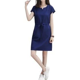 [ユリカー] レディース ワンピース 半袖 丸首 ひざ丈 夏 ウェストゴム ポケット付き 柔らかい 半袖 ドレス ゆったり 体型カバー トップス 韓国風 コーディネート 可愛い ブルー2XL