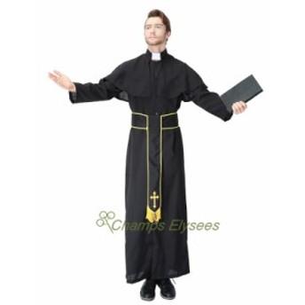 メンズコスプレハロウィン神父 修道士 教父 牧師 宣教師 ゴッドファーザー 変装大人用仮装コスチューム 男キャラクター クリスマス
