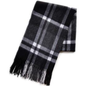 【ウォッシャブル】ウール チェック ストール(pure wool 100% 内モンゴル) 60×190 BK (ブラックチェック)