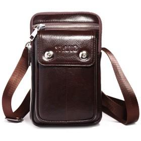 ウエストベルトバッグ 本革 メンズ 携帯ベルトポーチ 軽量 ショルダー付き ミニバッグ タバコケース 携帯収納 2室 コンパクト コーヒー