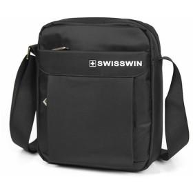 SWISSWIN SW5052V ショルダーバッグ メンズ 斜めがけ 軽い ショルダー ビジネスバッグ 出張 メンズバッグ レディース ショルダーバッグ 斜めがけバッグ コンパクトバッグ おしゃれ 鞄 防水 (ブラック)