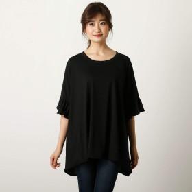 神戸レタス KOBE LETTUCE 異素材切り替え袖フリルゆったりカットソー レディース 半袖 [C3424] ワンサイズ(M) ブラック