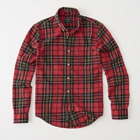 Abercrombie&Fitch アバクロ メンズ 長袖フランネルシャツ Red Plaid Check Washed Flannel Shirt 赤チェック 125-168-2616-508 (L) [並行輸入品]