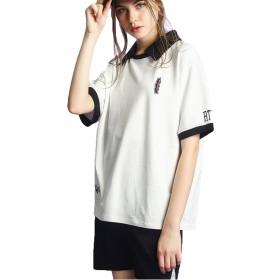 JIANGWEI 男女兼用 ポロシャツ レディース 刺繍 半袖 Tシャツ ゴルフウェア コットン ファッション 2色 ホワイトL