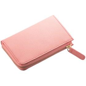 (コラーレ) corale 財布 コンパクト レディース コインケース 小銭入れ プリズムレザー カードケース 本革の小さいお財布 L字ファスナー 12colors (フラミンゴピンク)