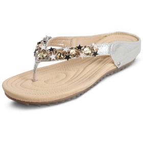 [ZHPUAT] サンダル レディース ガールズ ビーチサンダル ローヒール 夏 歩きやすい 滑り止め フラットヒール ビーズ かわいい 美脚 ボヘミアン風 6660-1-シルバー 23.5cm