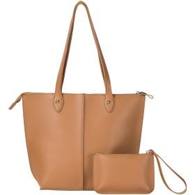 大ハンドバッグ レディーズ ショルダーバッグ 2点セット、通勤用バッグ アウトレット旅行汎用バッグ大容量 (ブラウン)