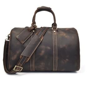 ボストンバッグ 本革 トラベル バッグ 旅行 1泊2日 大容量 2WAY トラベルバッグ 旅行鞄 ショルダーバッグ 旅行用 ゴルフバッグ ボストン鞄 45cm (ブラウン4)