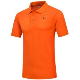 donhobo ポロシャツ メンズ シャツ ボタンダウン ビジネス クールビズ 半袖 ゴルフ スポーツ オレンジ M