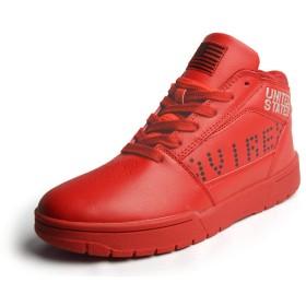AVIREX(アビレックス) スニーカー メンズ ハイカット ミドルカット メンズ カジュアル シューズ ウォーキング 軽量 靴 レッド 赤色 US8(26cm)