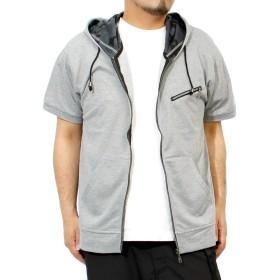 パーカー メンズ 大きいサイズ 半袖 長袖 カモフラ 迷彩 薄手 ジップアップ ゆったり ジップアップパーカー 4L グレー