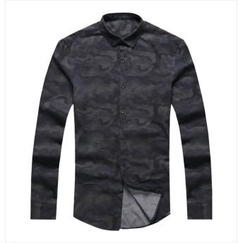 [ミックスリミテッド] シャツ メンズ 長袖 花柄 花柄シャツ アロハシャツ タイト 細身 起毛 mixflws01x-E-BLU