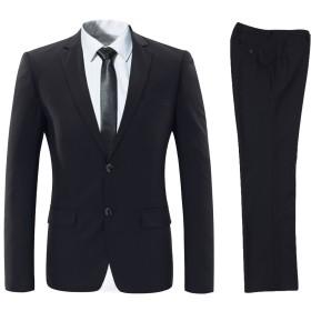 ビクトリー メンズ ビジネススーツ 上下セットスーツ 2つボダン 光沢あり立体裁断 ウォッシャブル 防シワ メンズ ブラック XS