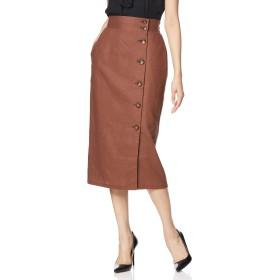 [ウィゴー] WEGO リネン 麻 ブレンド ボタン ナロー スカート FREE フリーサイズ ブラウン レディース