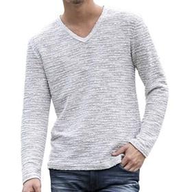 (エーエスエム) A.S.M メンズ ブークレ スラブ Vネック ロング Tシャツ ロンT 02-66-9707 52(LL) オフホワイト
