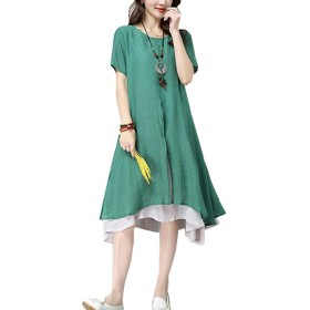 maweisong Women Cotton Linen Dress Fake Two Pieces with Sleeves Midi Dress Dark Green S