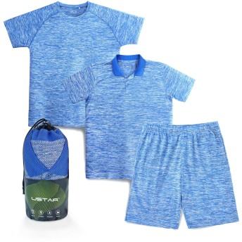 USTAR(アスター)吸汗速乾 Tシャツ ポロシャツ ハーフパンツ 3枚組 メンズ スポーツウェア ルームウェア ドライフィット ドライメッシュ ランニング ジム リラックスシーン (M, ブルー)