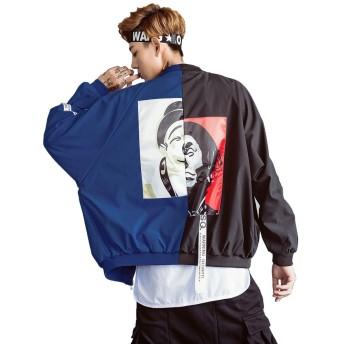 HAPPYJP メンズ ジャケット MA-1 ブルゾン ストリート系 スカジャン おもしろ アウター 春 薄手 長袖 (ブラック+ダークブルー, M)