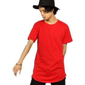 (エイト) 8(eight) ロング丈 半袖 Tシャツ 無地 日本製 カットソー ストリート レッド L
