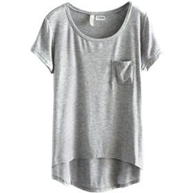 (ベストギフト)Bestgift レディース モーダル ショートスリーブ Tシャツ グレー フリーサイズ