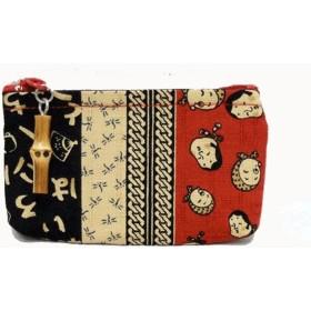 小銭入れ コインケース 財布 和柄 ファスナー付き 時代小紋 縁起物 赤系